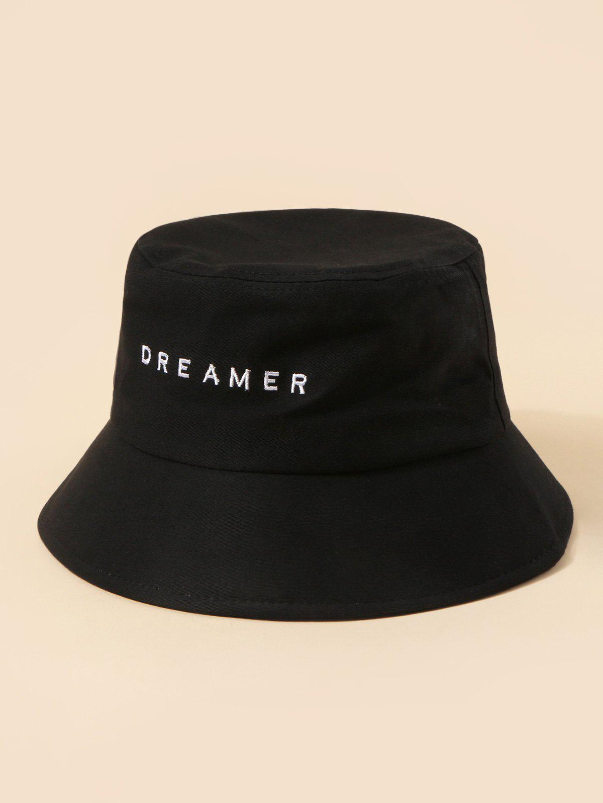 Brief Embroidery Dreamer Letter Bucket Hat - BLACK
