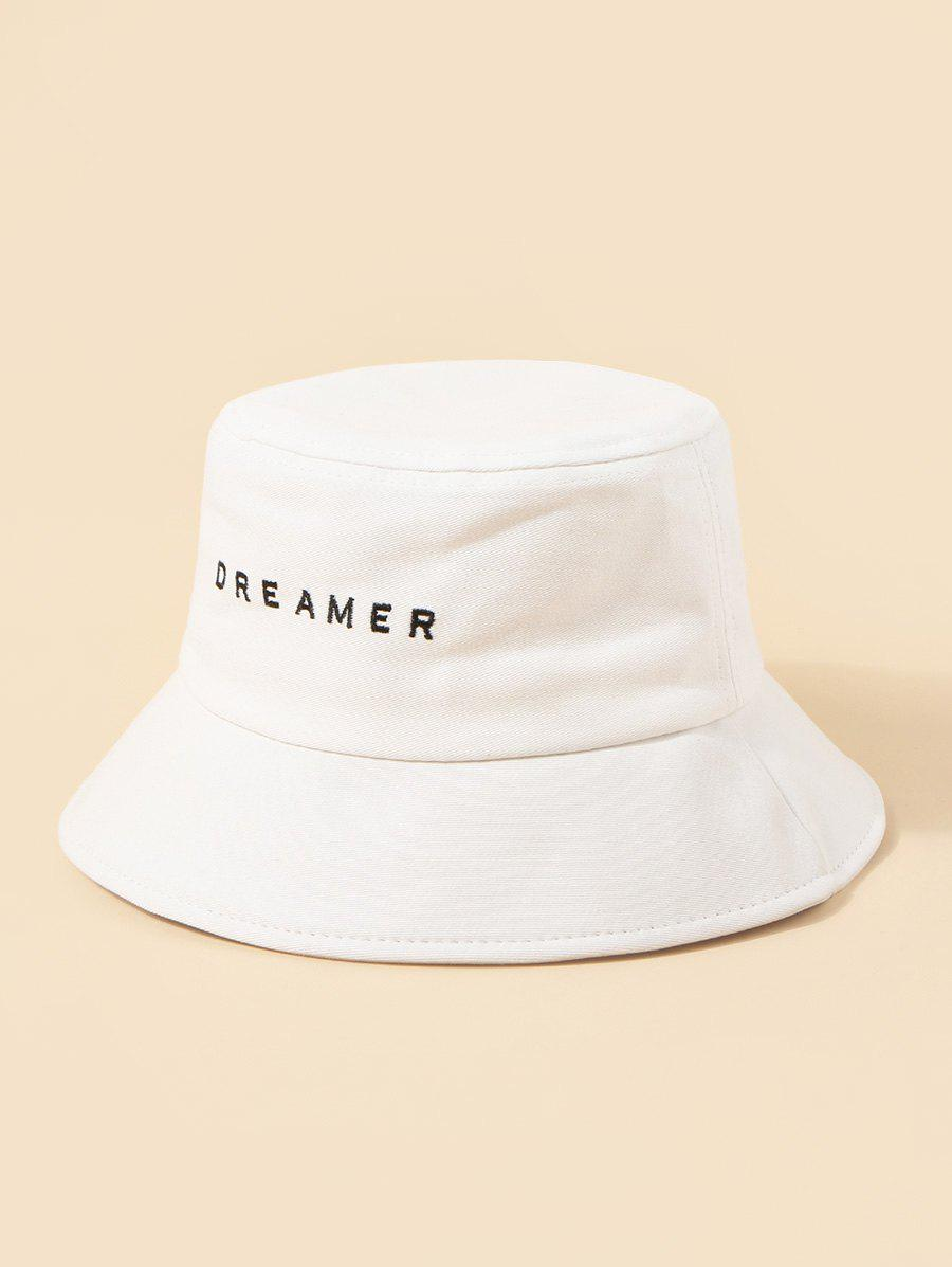 Brief Embroidery Dreamer Letter Bucket Hat - WHITE