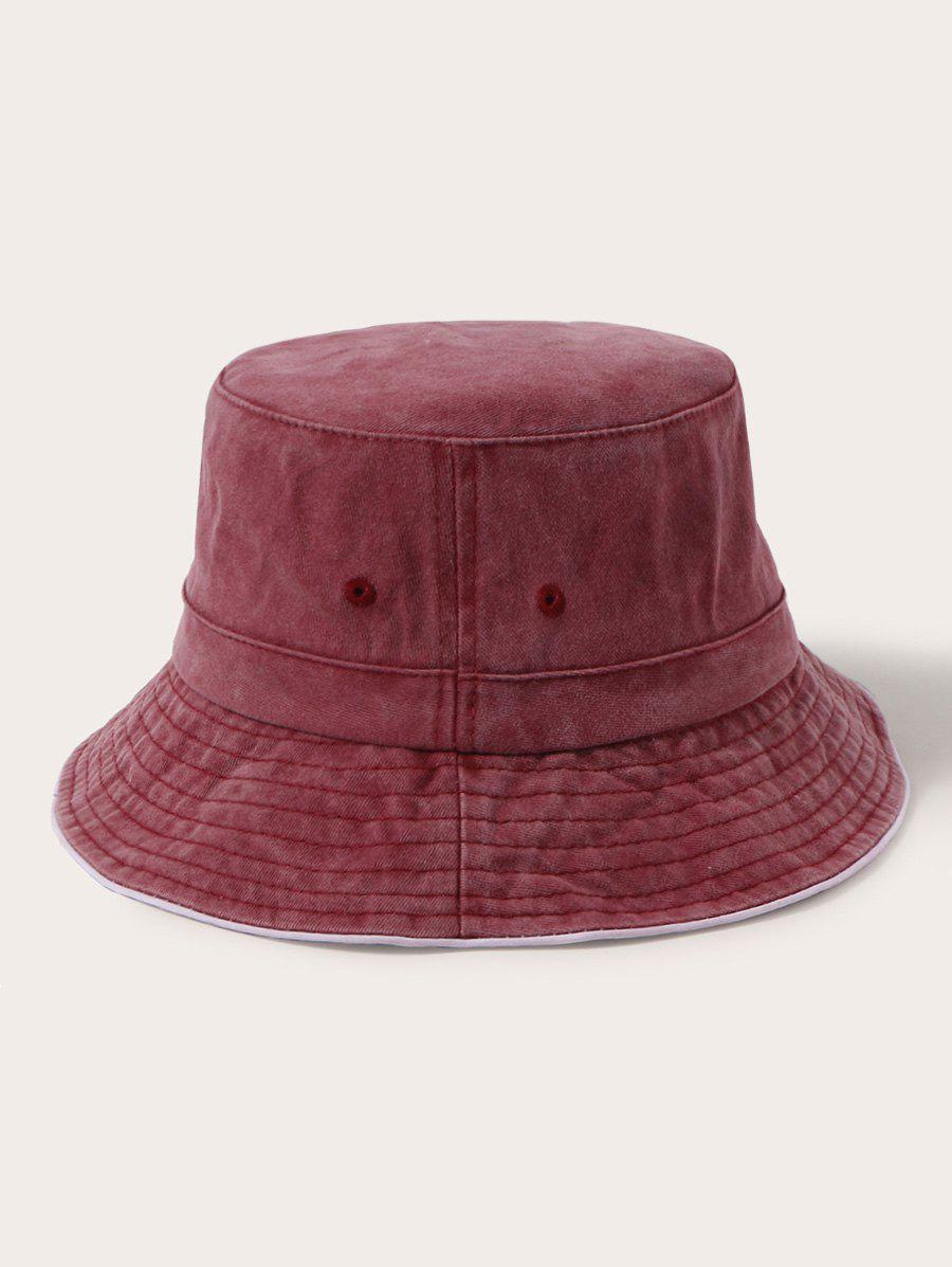 Retro Solid Washed Cotton Bucket Hat - RED WINE