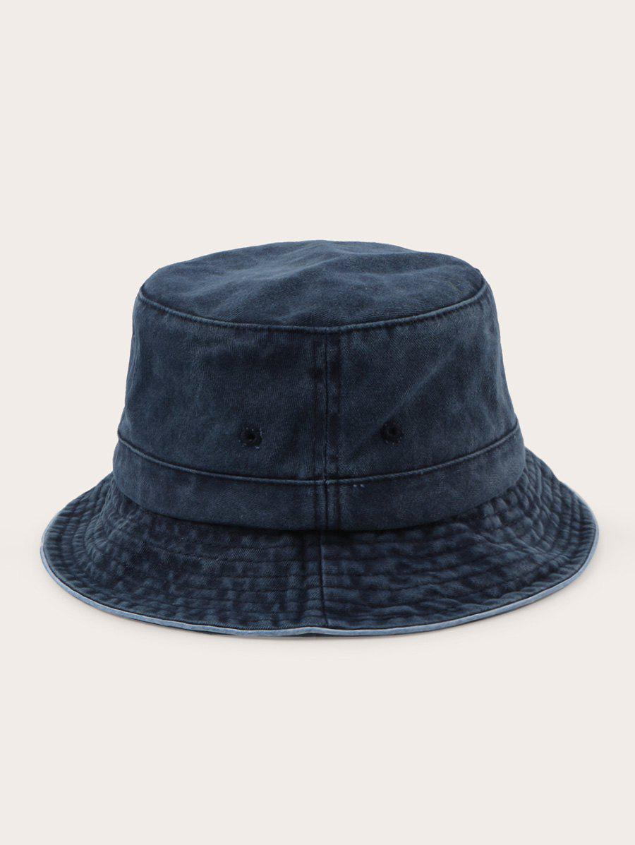 Retro Solid Washed Cotton Bucket Hat - CADETBLUE