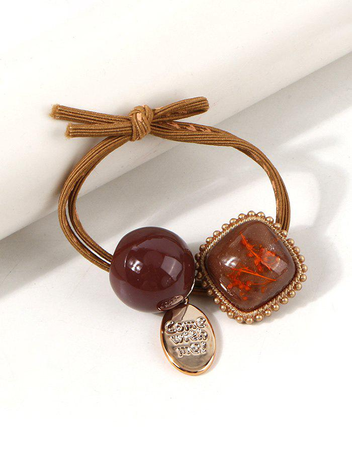 Square Pendant Knot Layers Hair Tie - COFFEE