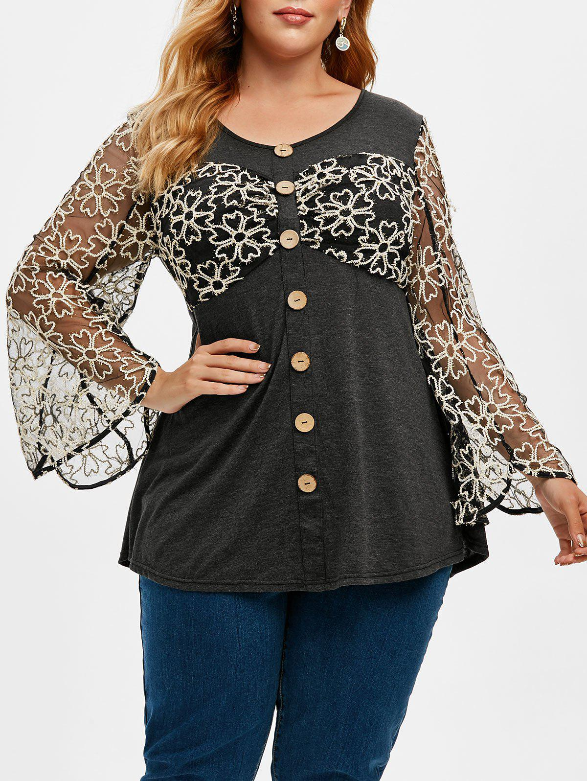 Plus Size Floral Mesh Insert Buttons Heathered T Shirt - GRAY L