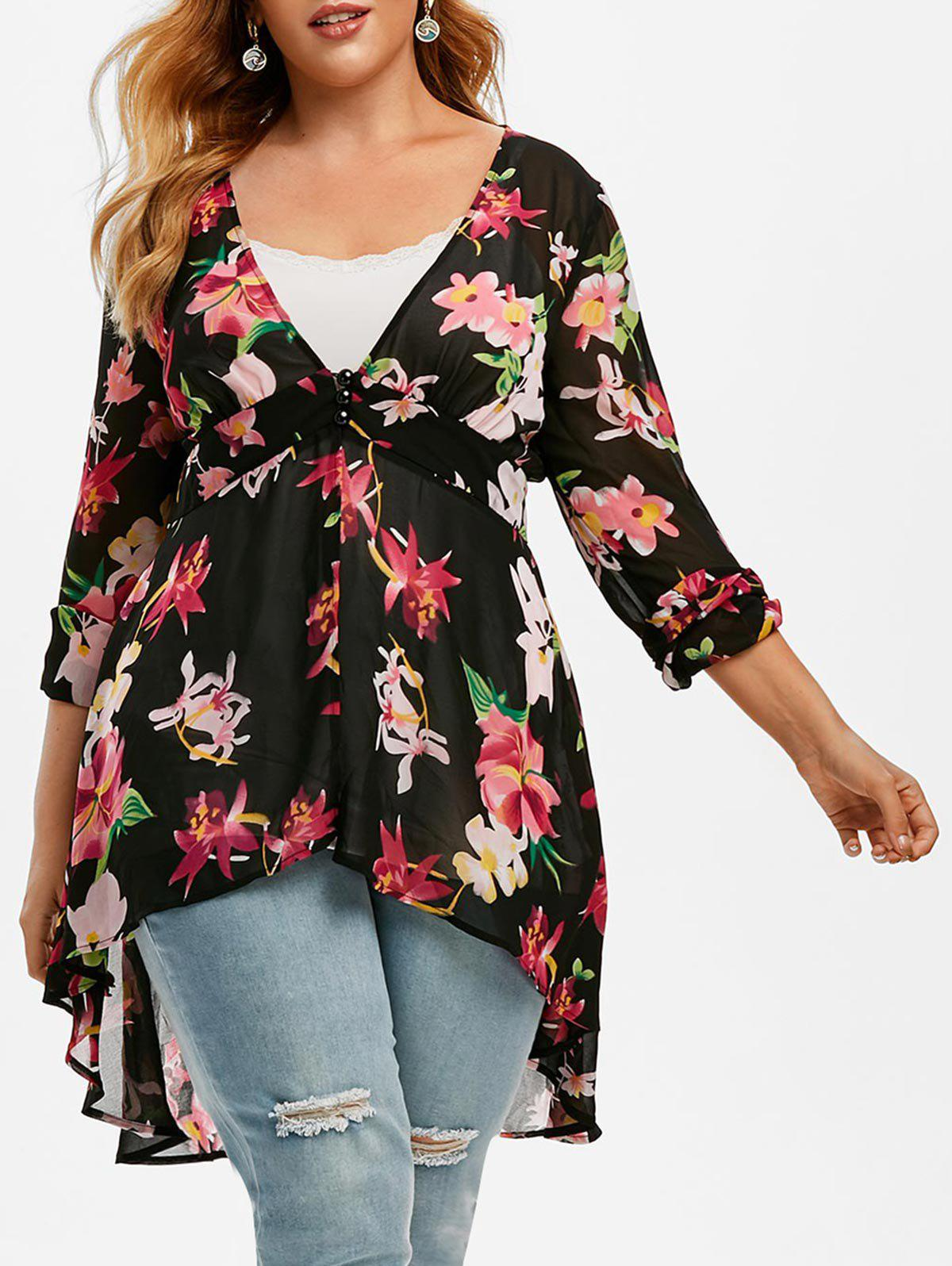 Plus Size Floral Print High Low Blouse and Tank Top Set - BLACK 5X