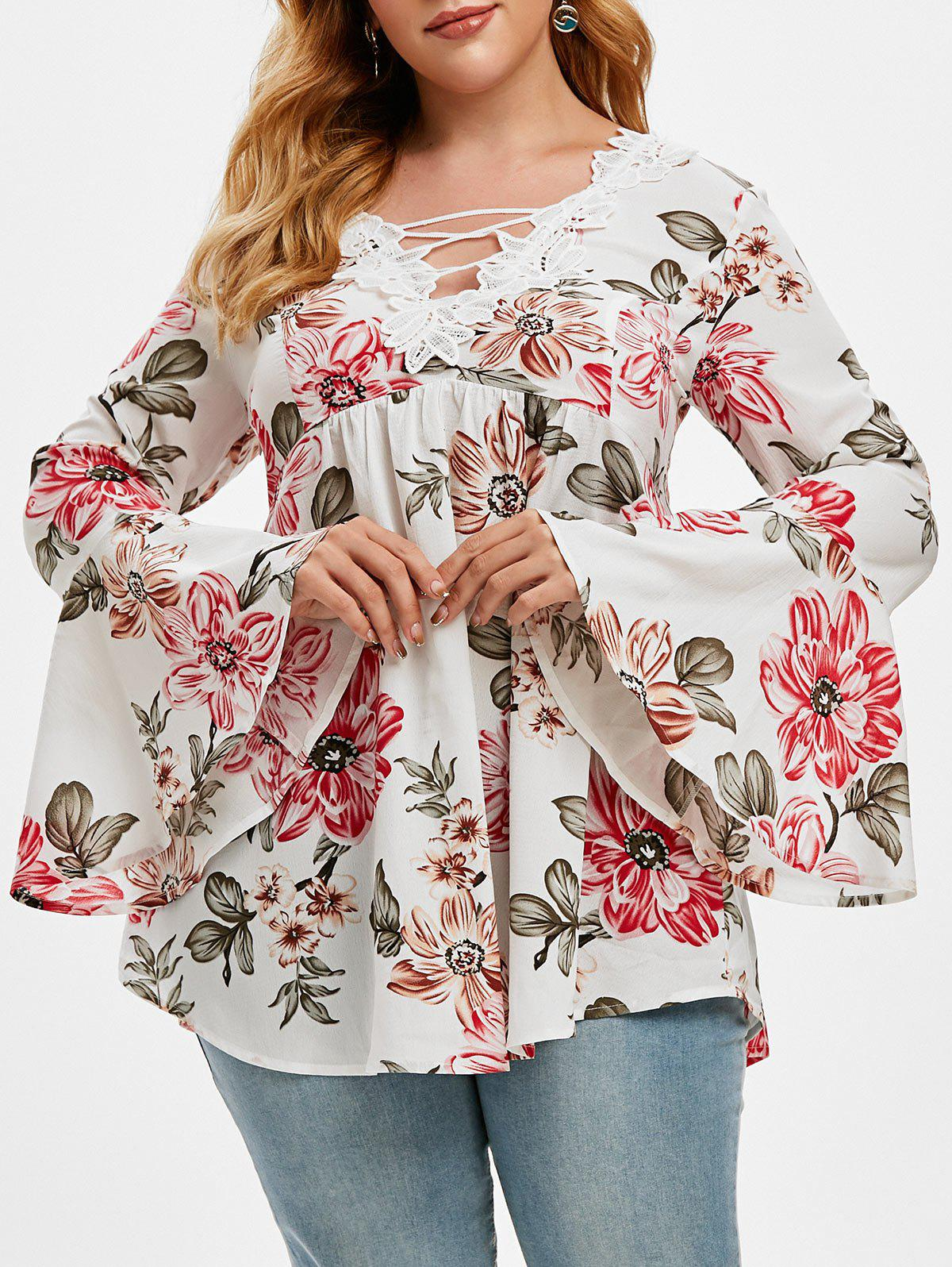 Plus Size Lace Insert Bell Sleeve Floral Print Top - WHITE 2X
