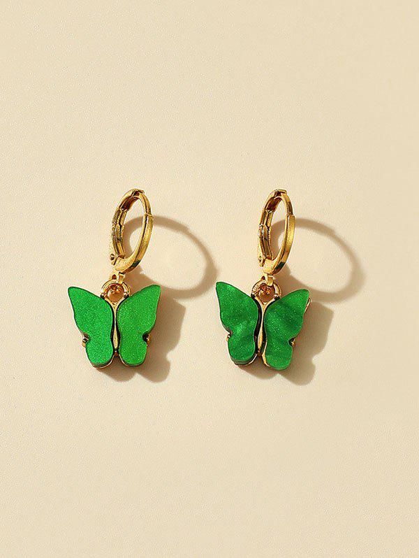 Acrylic Butterfly Small Clip Earrings - MEDIUM SPRING GREEN