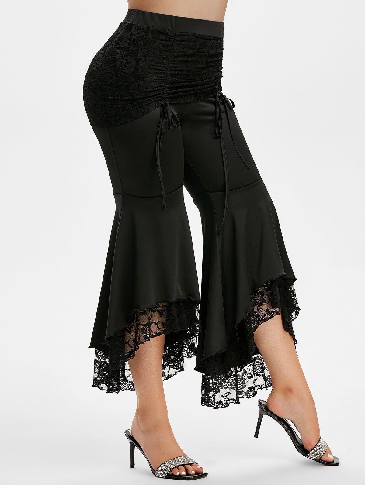 Plus Size High Rise Lace Insert Flare Pants - BLACK 5X