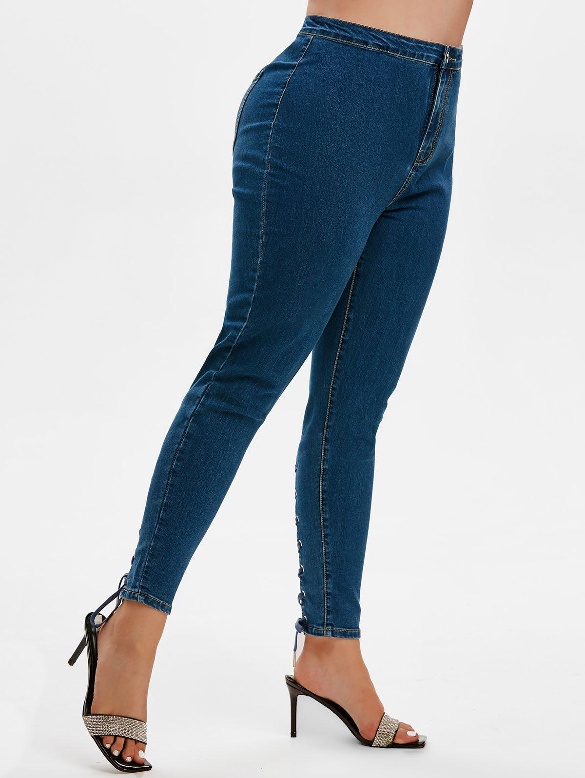Plus Size High Waisted Lace Up Jeans - DEEP BLUE 4X