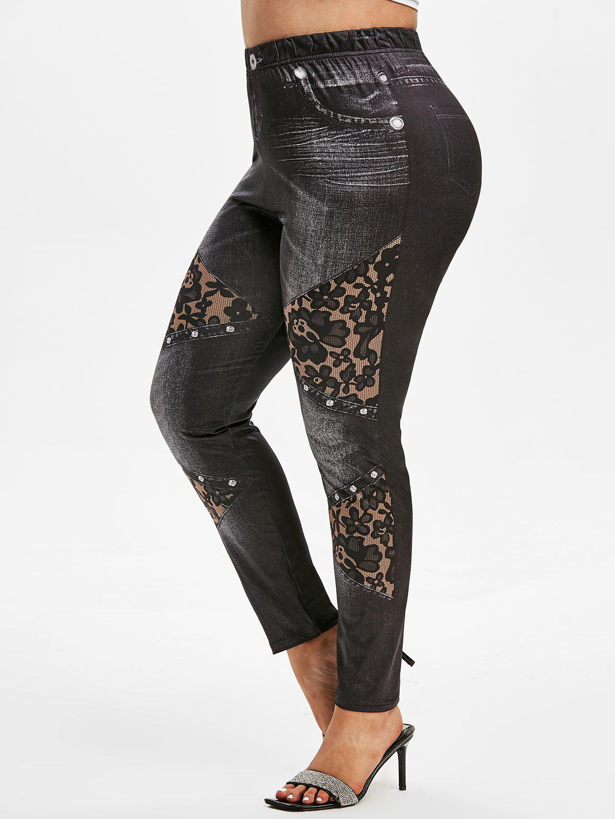 Plus Size 3D Jean Print Fitted Jeggings - BLACK L