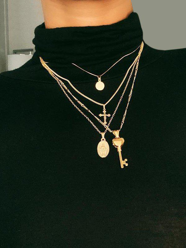 Key Cross Disc Pendant Multilayered Chain Necklace - GOLDEN