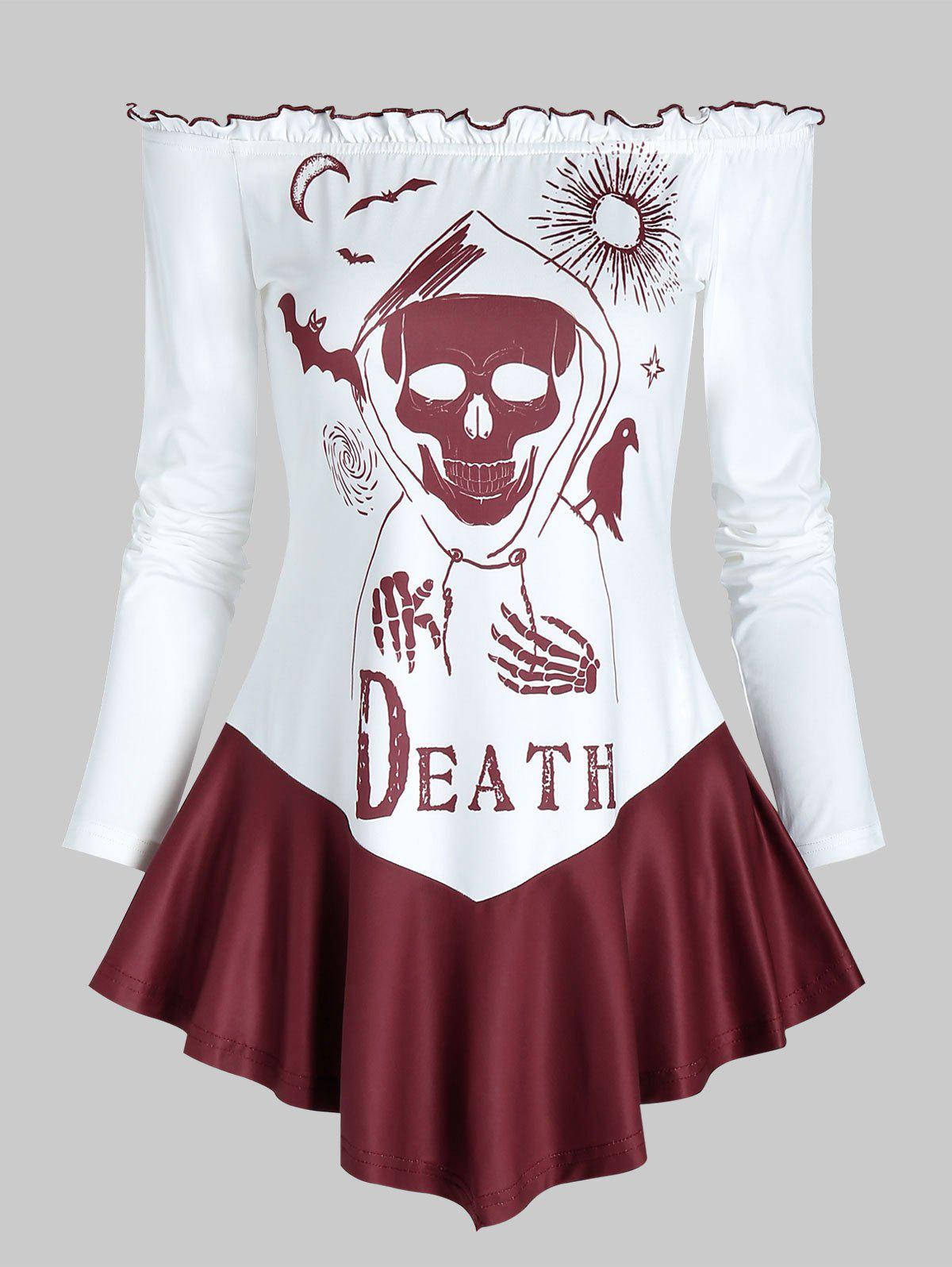 Halloween Death Bat Print Off The Shoulder T-shirt - RED WINE M