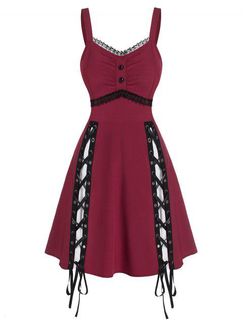 Sleeveless Lace Panel Lace-up Gothic Dress