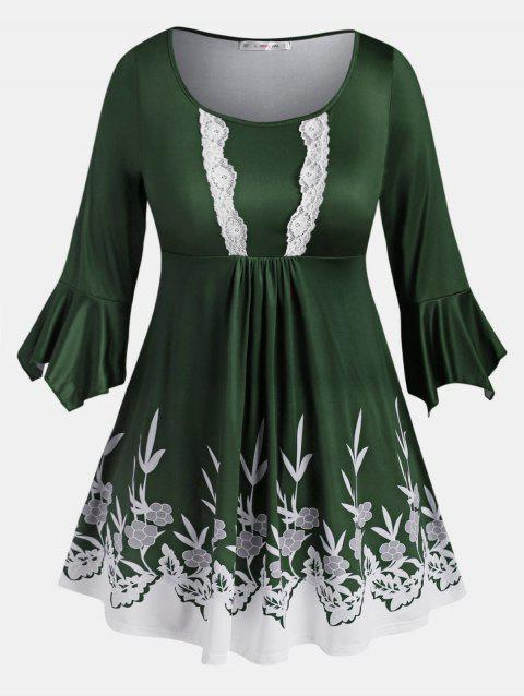 Lace Trim Leaves Floral Flare Sleeve Plus Size Blouse