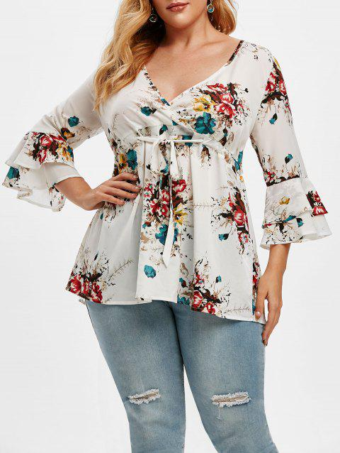 Plus Size Drawstring Floral Print Bell Sleeve Top