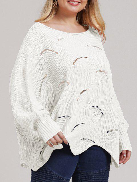 Plus Size Open-knit Asymmetric Sweater