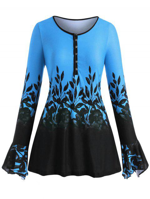 Plus Size Half Button Bell Sleeve Floral Print Tee