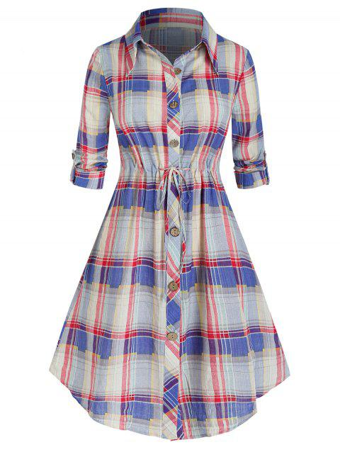 Plus Size Plaid Roll Up Sleeve Drawstring Shirt Dress