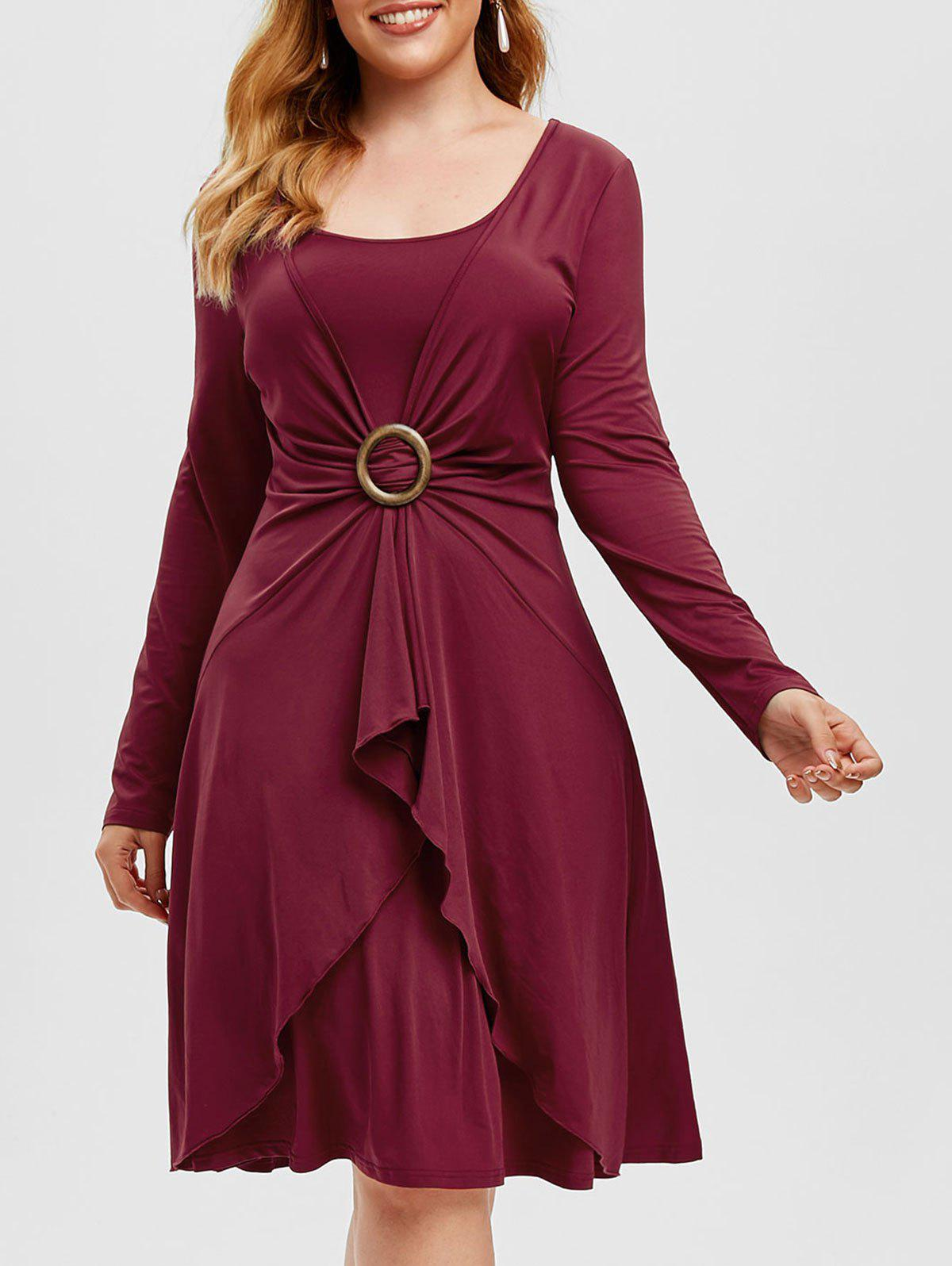 Plus Size O Ring Overlap Dress - RED WINE 4X