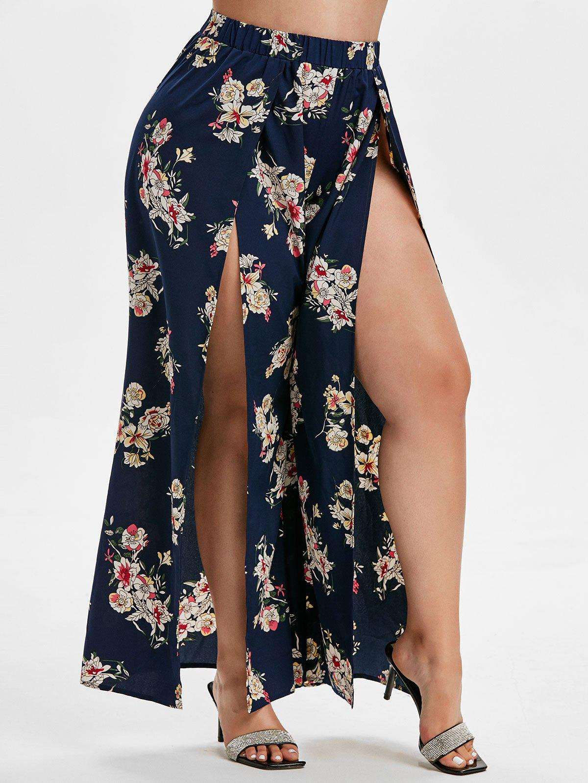 Plus Size High Slit Floral Print Palazzo Pants - MIDNIGHT BLUE 1X