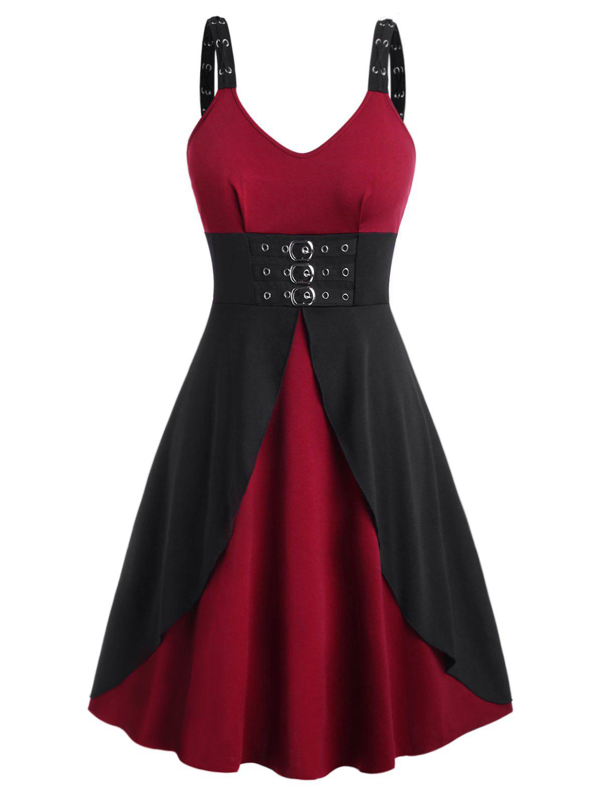 Plus Size Buckles Eyelet Gothic Dress - DEEP RED 2X