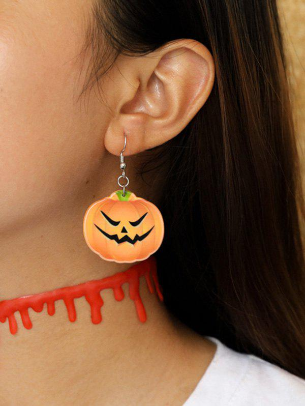 Halloween Pumpkin Hook Earrings - TANGERINE