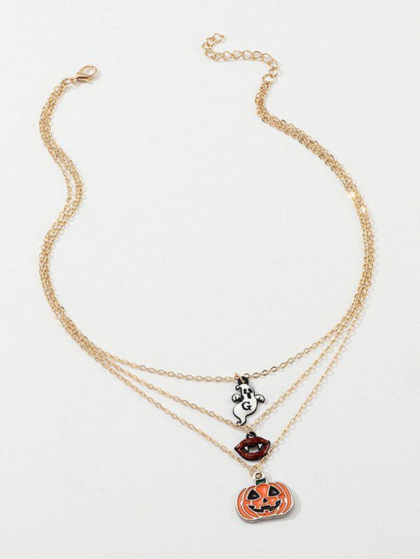 Halloween Pumpkin Ghost Shape Layered Necklace - GOLDEN