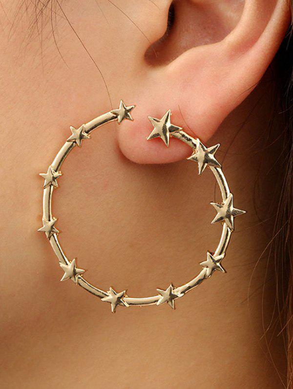 Star Circle Shape Alloy Earrings - GOLDEN