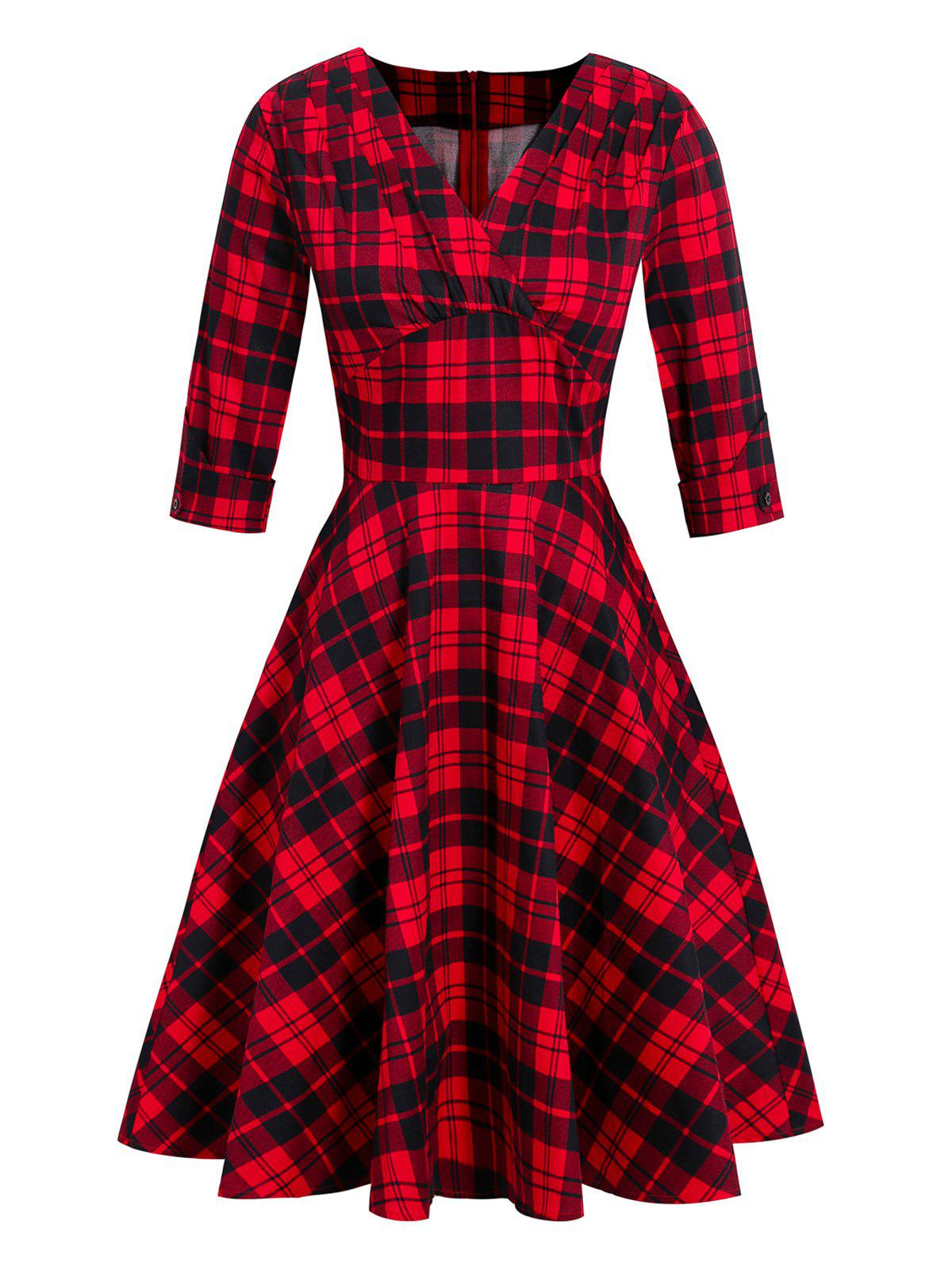 Plaid Plunging Empire Waist Vintage Dress - RED S