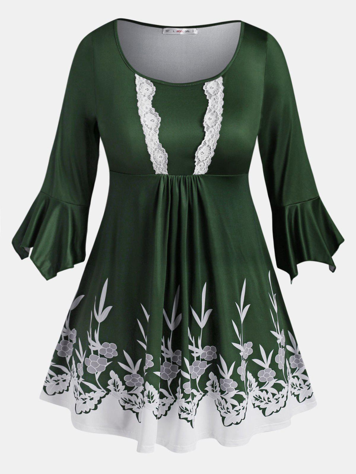 Lace Trim Leaves Floral Flare Sleeve Plus Size Blouse - DEEP GREEN L