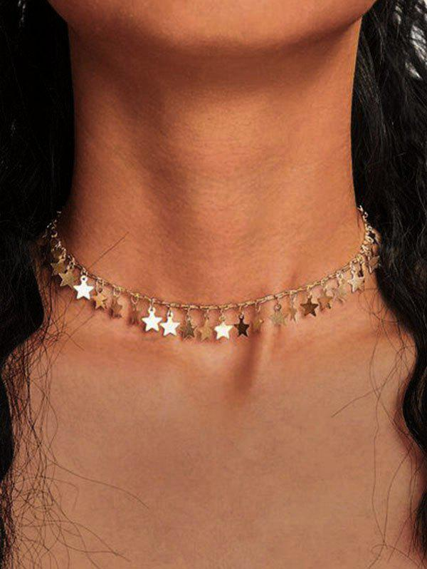 Stars Alloy Charm Necklace - GOLDEN