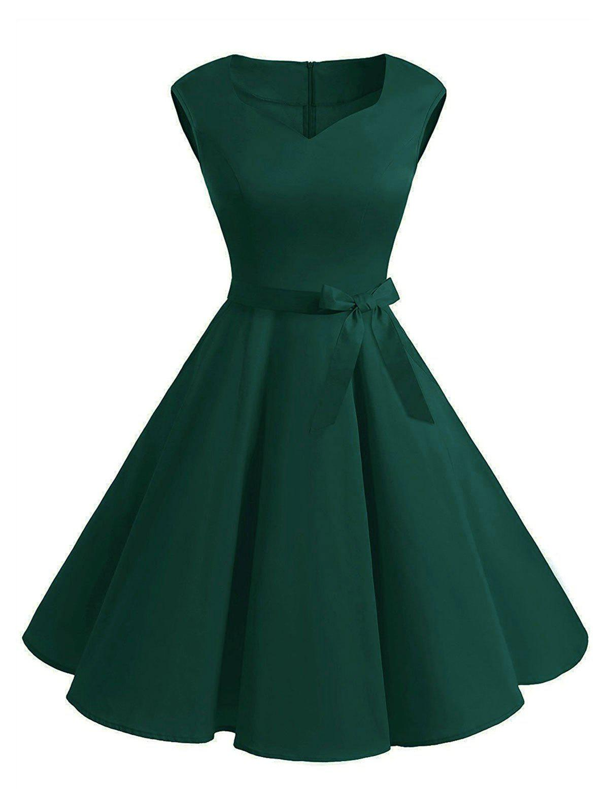 Belted Sweetheart Sleeveless Dress - DEEP GREEN S