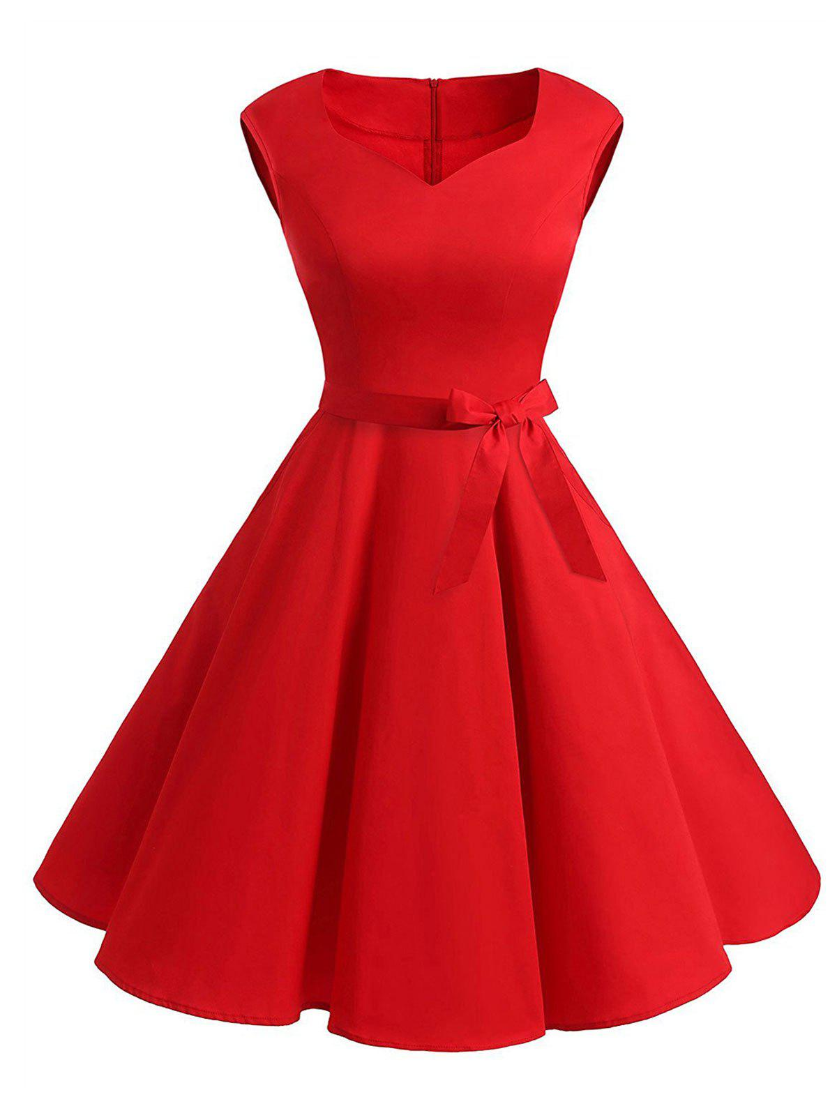 Belted Sweetheart Sleeveless Dress - RED 2XL