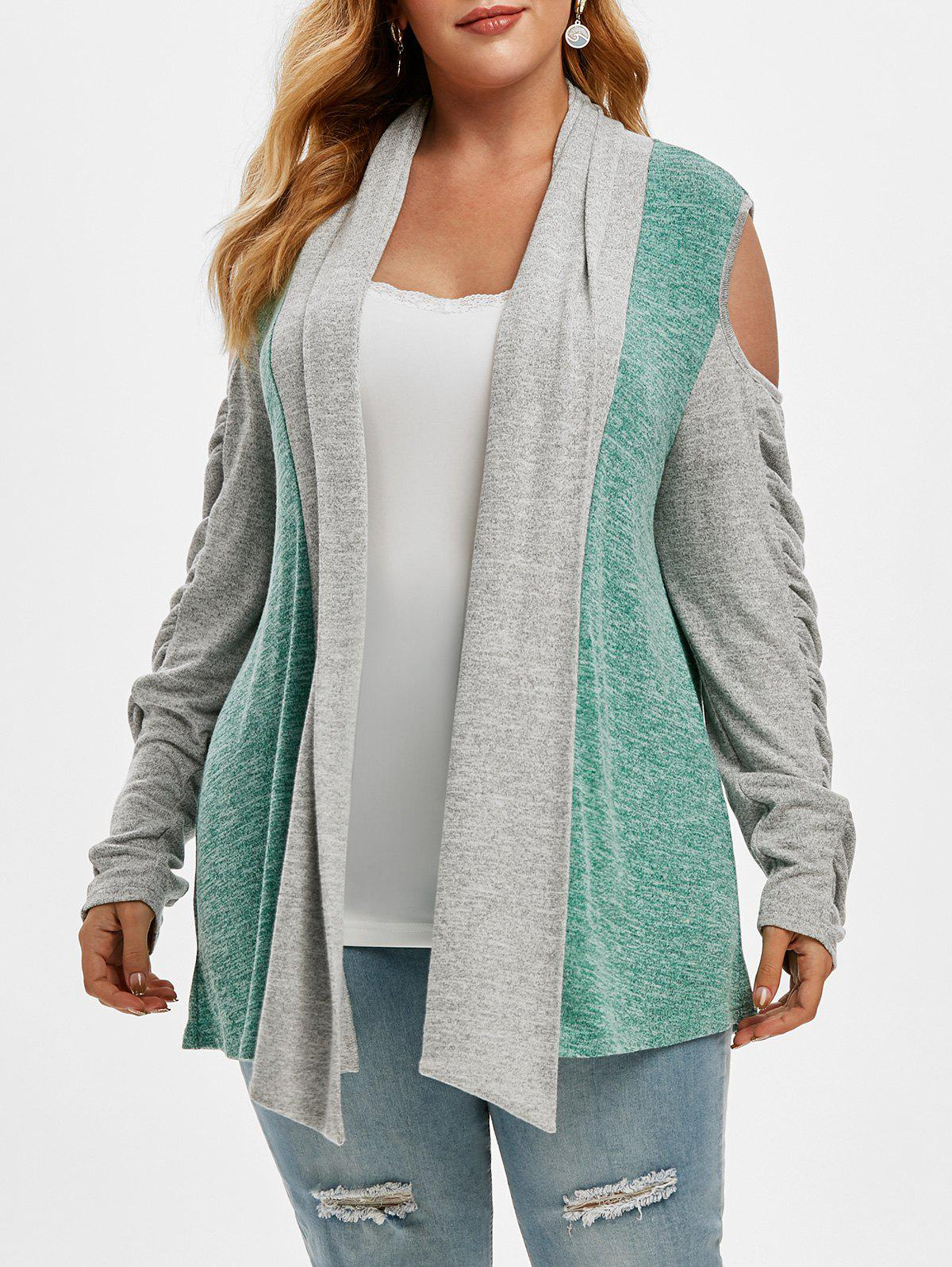 Cold Shoulder Heathered Colorblock Shawl Collar Plus Size Cardigan - GREEN 4X