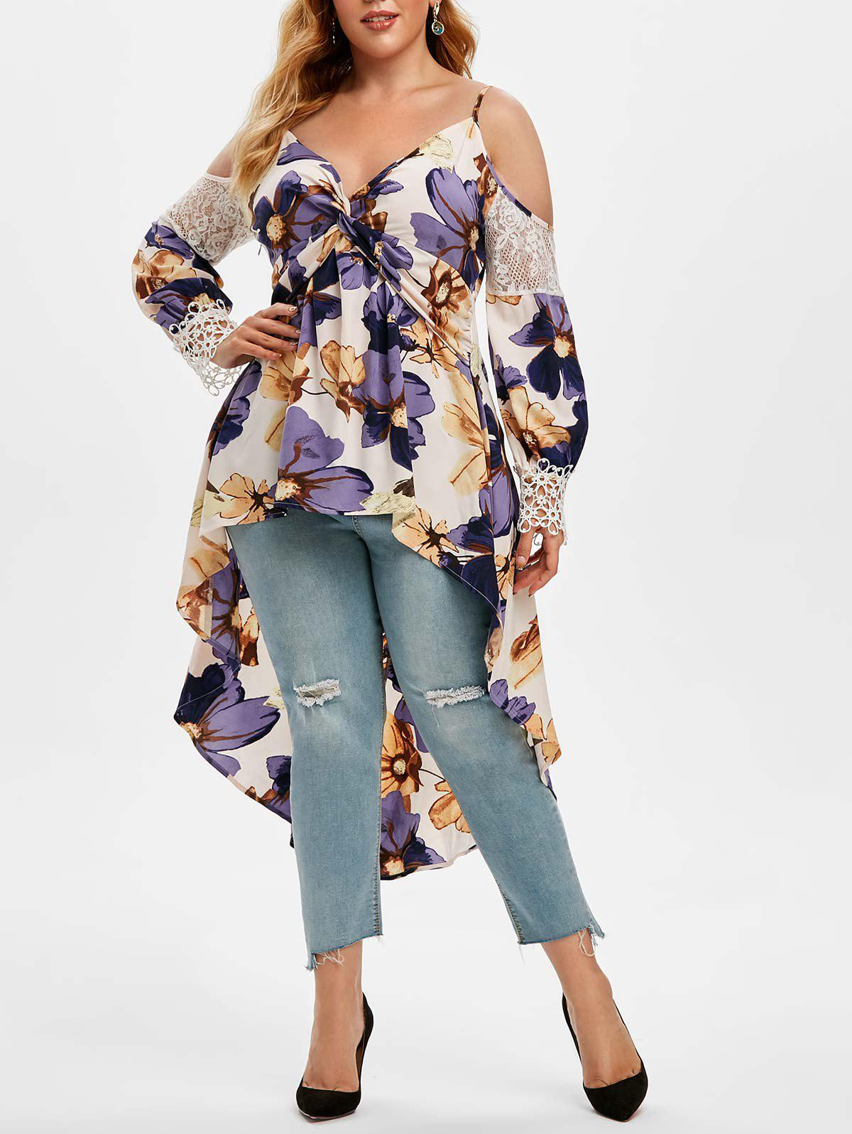 Plus Size Cold Shoulder Front Twist Floral Print Tail Blouse - PURPLE 5X