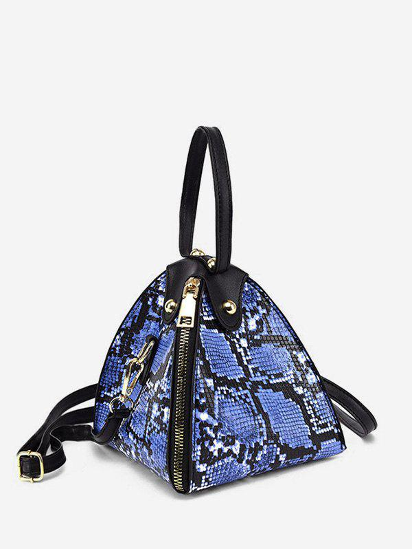 Snakeskin Pattern PU Zipper Handbag - BLUE