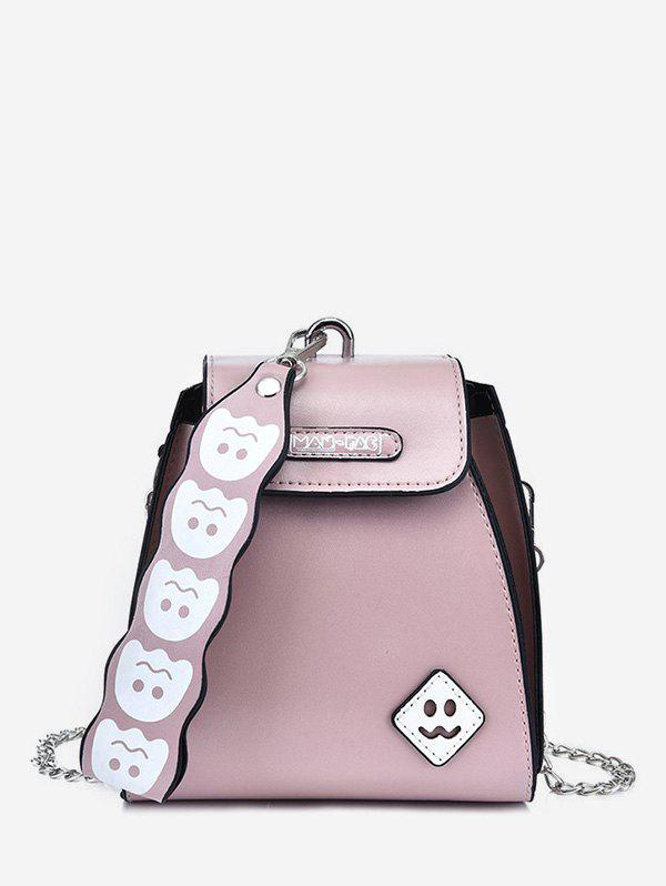 Cute Ghost Pattern Leather Mini Tote Bag - LIGHT PINK