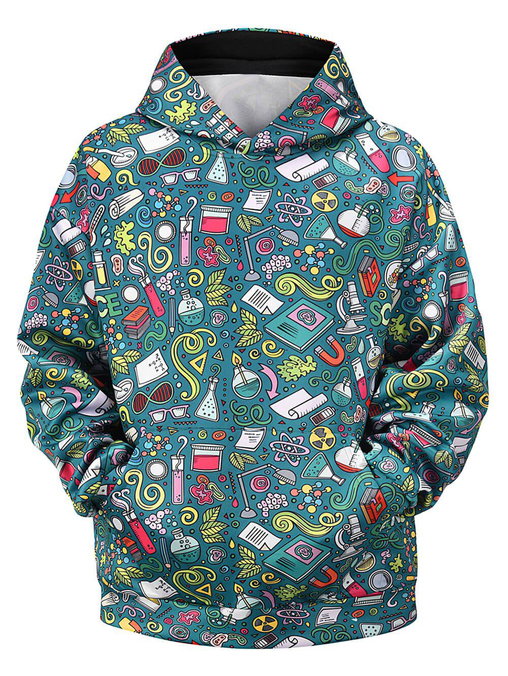 Cartoon Seamless Pattern Front Pocket Pullover Hoodie - SEA GREEN XL