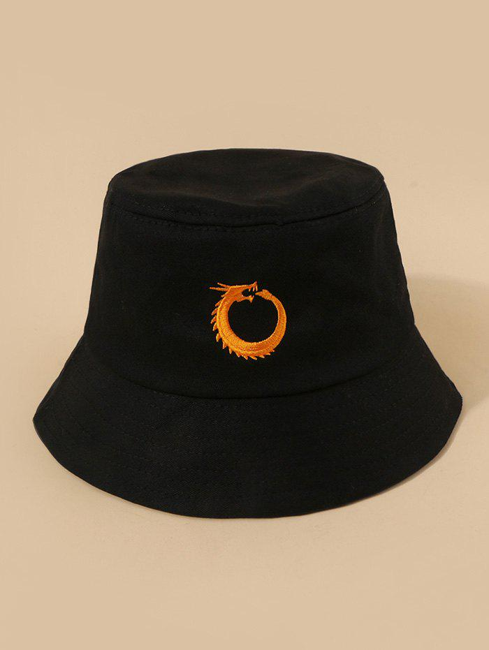 Chinese Dragon Embroidery Bucket Hat - BLACK