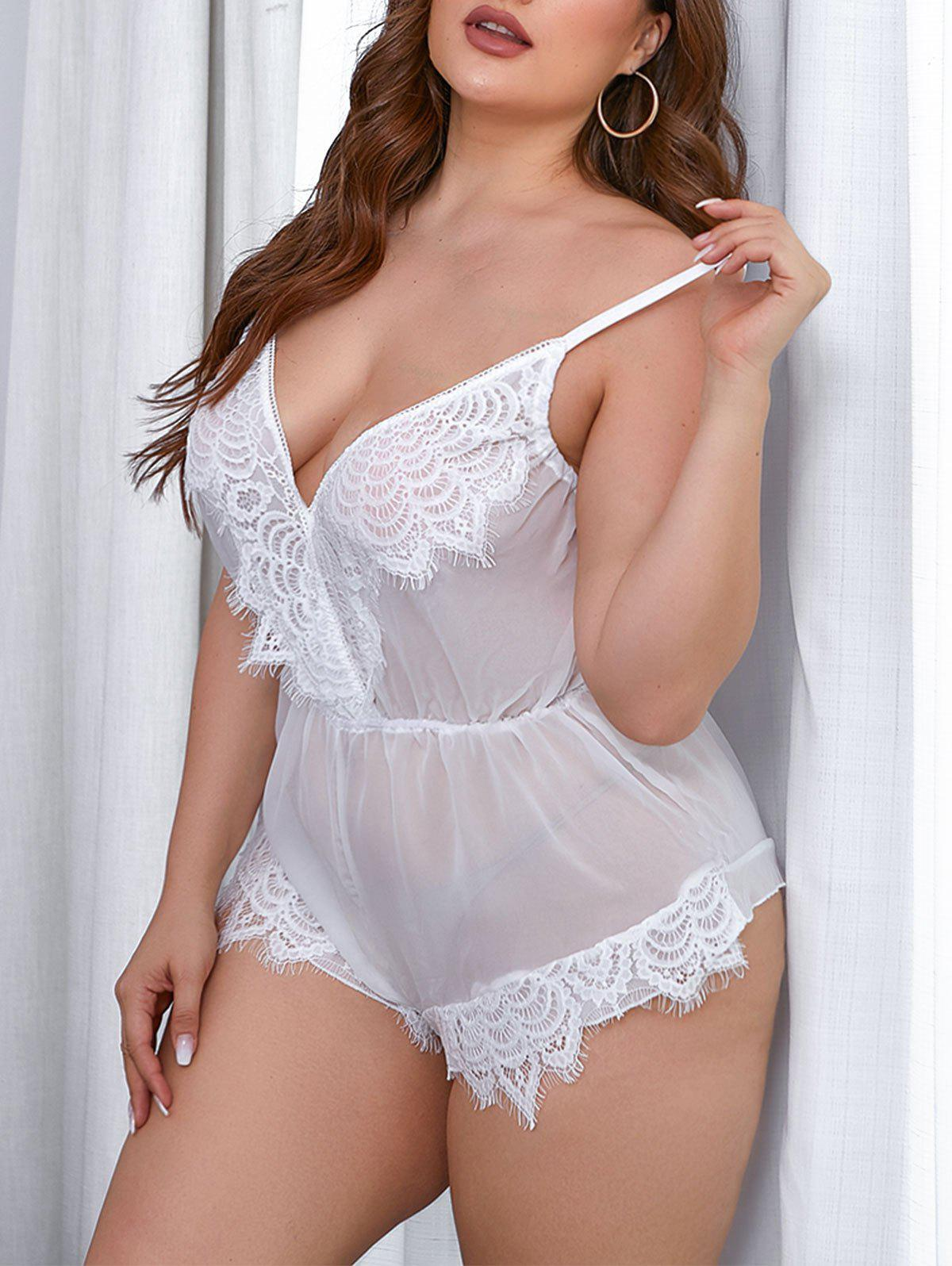 Plus Size Lace Insert Sheer Lingerie Romper - WHITE 4XL