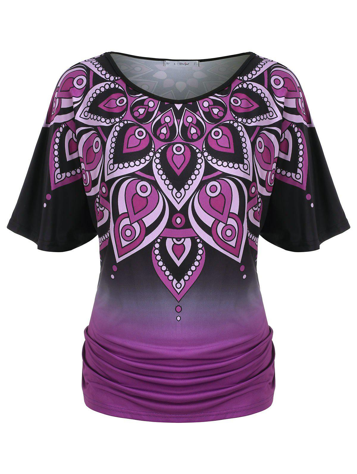 Plus Size Ombre Print Ruched Flutter Sleeve Tee - BLACK 5X