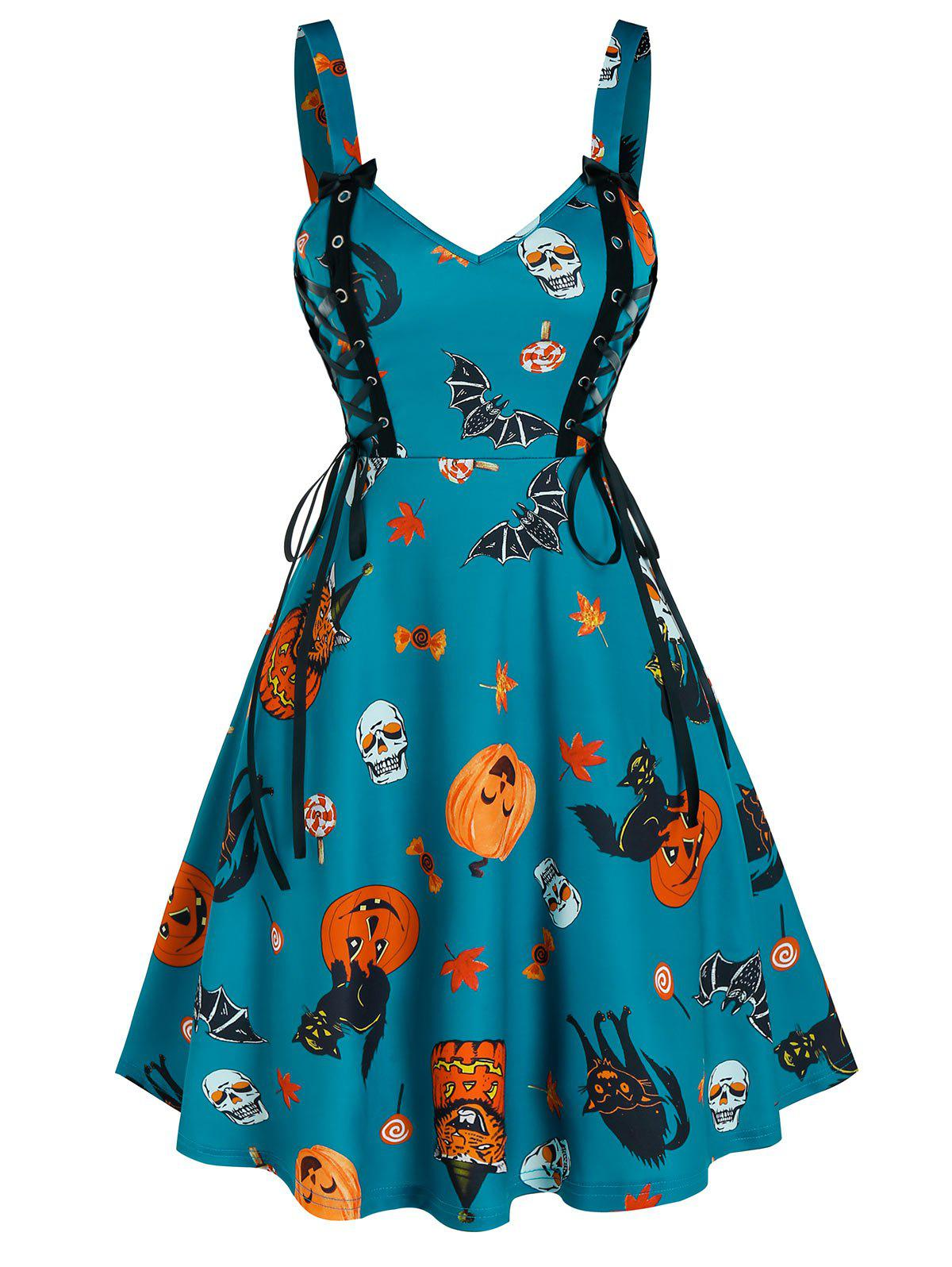 Halloween Pumpkin Print Lace Up Cami A Line Dress - GREENISH BLUE L