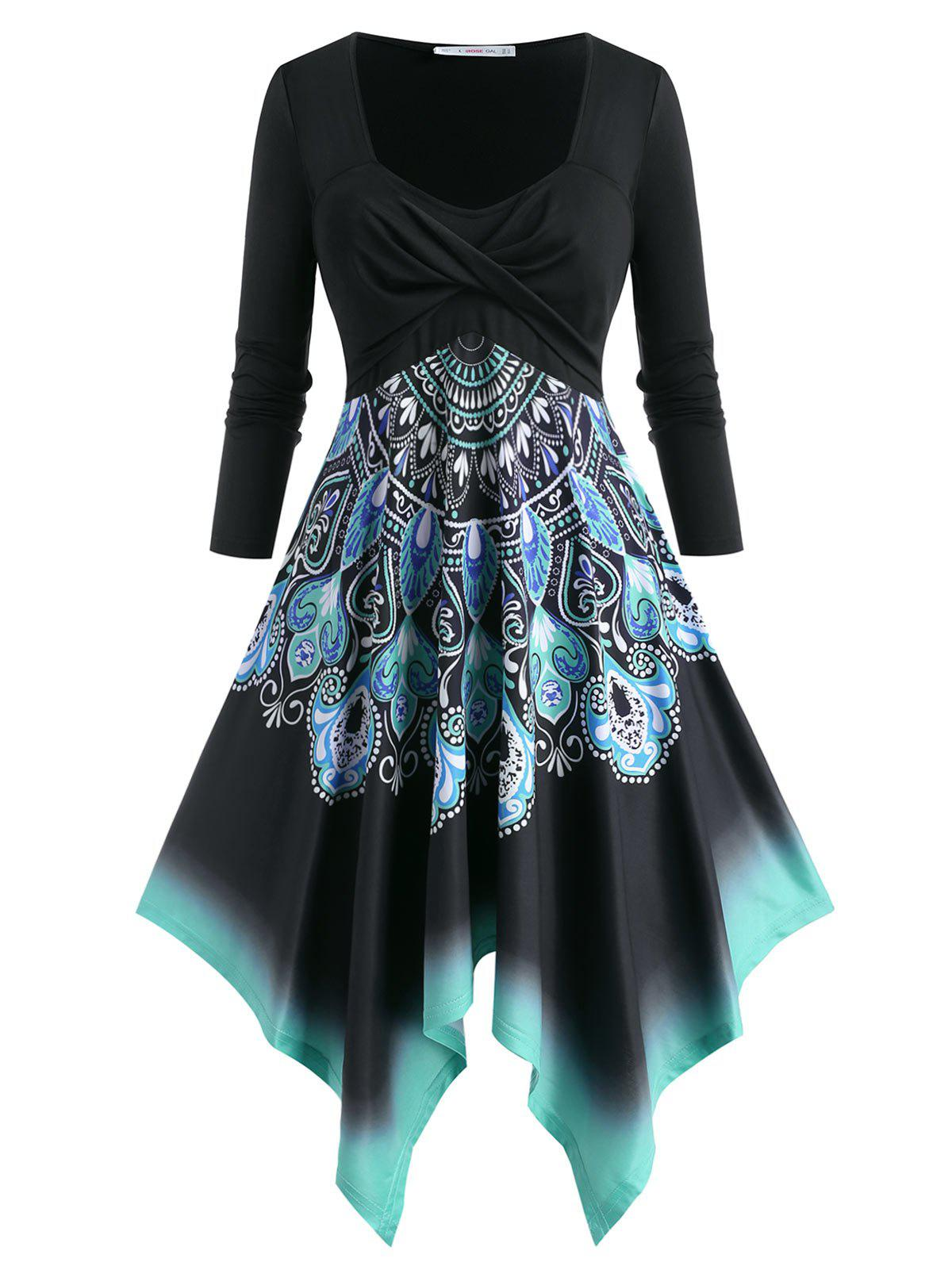 Plus Size Twist Printed Handkerchief Long Sleeve Dress - BLACK 1X
