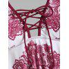 Plus Size Lace Print Halter Handkerchief Tankini Swimwear - DEEP RED 2X