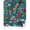 Cartoon Seamless Pattern Front Pocket Pullover Hoodie - SEA GREEN L