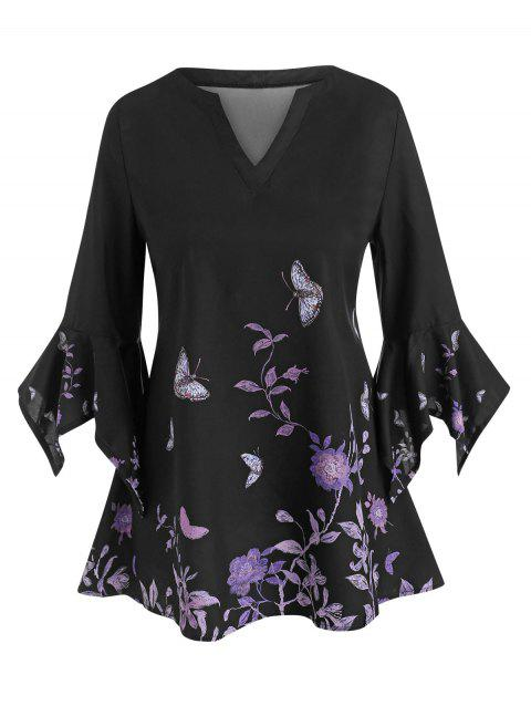 Floral Butterfly Flare Sleeve Tunic Top