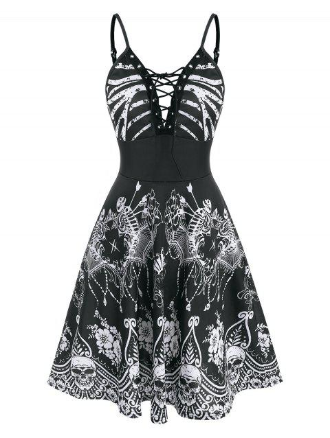 Halloween Skeleton Floral  Lace-up Cami Dress