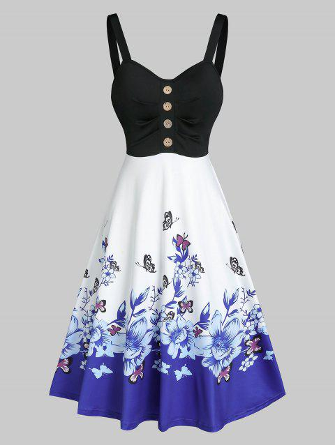 Floral Butterfly Print High Waist Cami A Line Dress