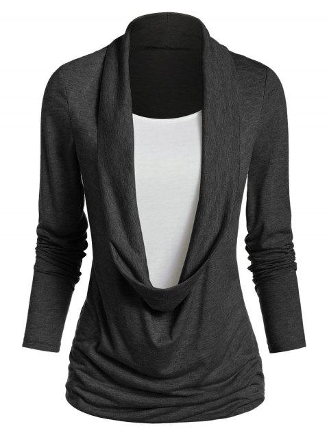 Long Sleeve Heathered Faux Twinset Casual T-shirt