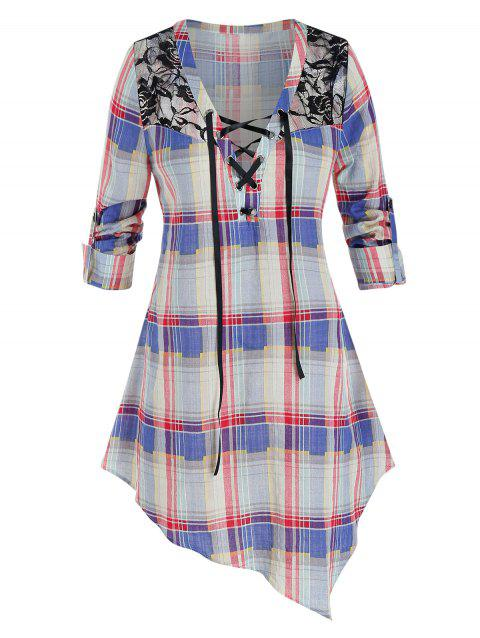 Plus Size Plaid Asymmetrical Lace-up Roll Up Sleeve Blouse