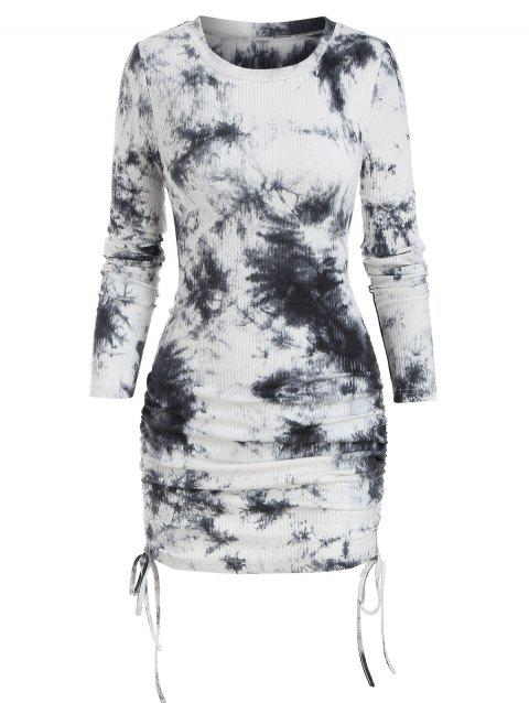 Tie Dye Print Ribbed Cinched Sheath Dress