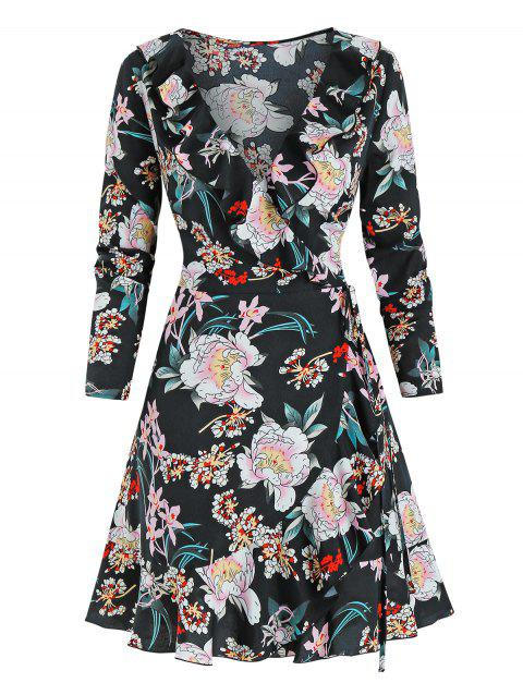 Flower Print Flounced Wrap Dress